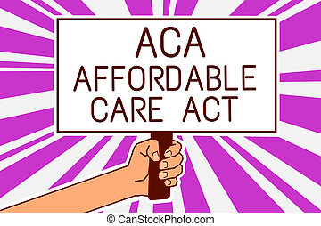 Handwriting text writing Aca Affordable Care Act. Concept meaning providing cheap treatment to patient several places Man hand holding poster important protest message purple rays background.