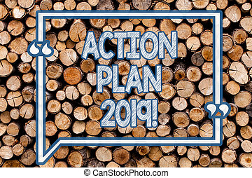 Handwriting text writing Action Plan 2019. Concept meaning Challenge Ideas Goals for New Year Motivation to Start Wooden background vintage wood wild message ideas intentions thoughts.
