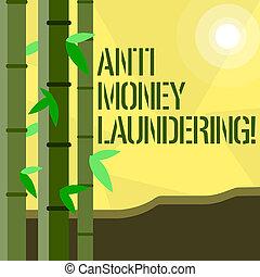 Handwriting text writing Anti Money Laundering. Concept...