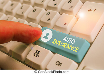 Handwriting text writing Auto Insurance. Concept meaning mitigate costs associated with getting into an auto accident.