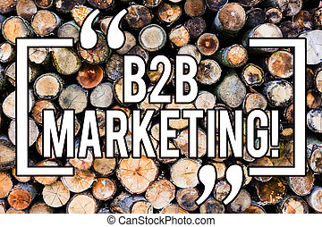 Handwriting text writing B2B Marketing. Concept meaning Business to Business Commercial Transactions Commerce Wooden background vintage wood wild message ideas intentions thoughts.