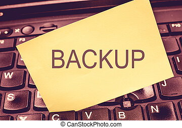 Handwriting text writing Backup. Concept meaning Copy of file data made in case original is lost or damaged Support