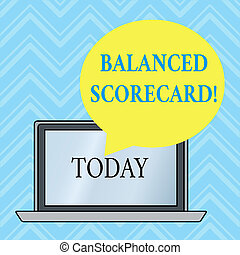 Handwriting text writing Balanced Scorecard. Concept meaning a perforanalysisce metric used in strategic analysisagement Round Shape Empty Speech Bubble Floating Over Open Laptop Colored Backdrop.
