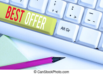 Handwriting text writing Best Offer. Concept meaning To convince someone by rendering all the greatness you can give White pc keyboard with empty note paper above white background key copy space.