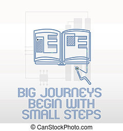 Handwriting text writing Big Journeys Begin With Small Steps. Concept meaning Start up a new business venture