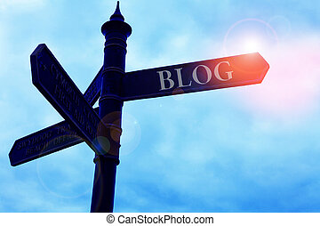 Handwriting text writing Blogquestion. Concept meaning regularly updated website web page run by individual Road sign on the crossroads with blue cloudy sky in the background.