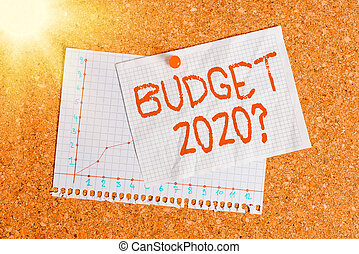 Handwriting text writing Budget 2020 Question. Concept meaning estimate of income and expenditure for next year Corkboard color size paper pin thumbtack tack sheet billboard notice board.