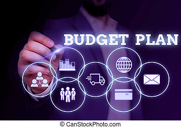 Handwriting text writing Budget Plan. Concept meaning financial schedule for a defined period of time usually year Male human wear formal work suit presenting presentation using smart device.