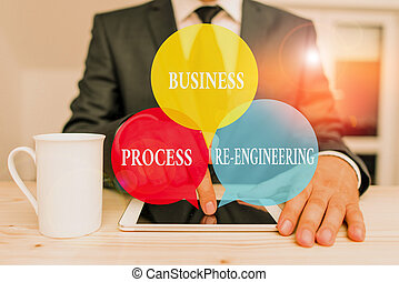 Handwriting text writing Business Process Re Engineering. Concept meaning the analysis and design of workflows Male human wear formal clothes present presentation use hi tech smartphone.