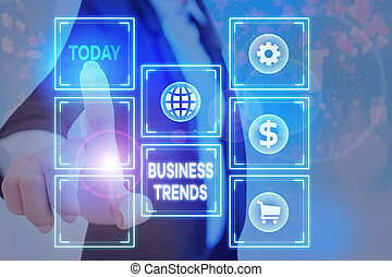 Handwriting text writing Business Trends. Concept meaning a general change in the way business is developing.