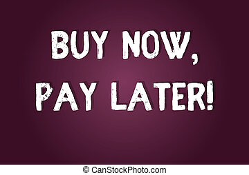 Handwriting text writing Buy Now Pay Later. Concept meaning Credit to purchase things payment time after buying Blank Color Rectangular Shape with Round Light Beam Glowing in Center.