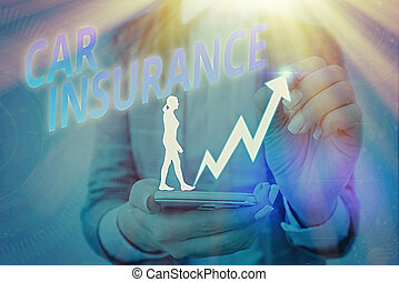 Handwriting text writing Car Insurance. Concept meaning Accidents coverage Comprehensive Policy Motor Vehicle Guaranty.