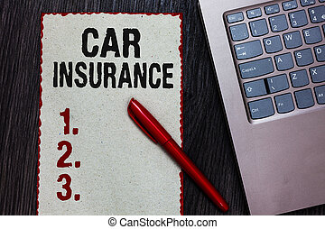 Handwriting text writing Car Insurance. Concept meaning Accidents coverage Comprehensive Policy Motor Vehicle Guaranty Piece paper red borders black marker computer keyboard wooden background.