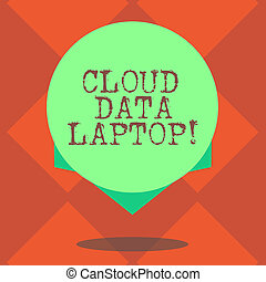 Handwriting text writing Cloud Data Laptop. Concept meaning datacenter full of servers that is connected to Internet Blank Color Circle Floating photo with Shadow and Design at the Edge.