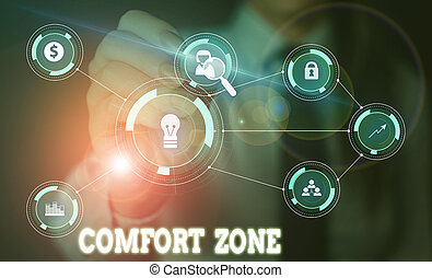 Handwriting text writing Comfort Zone. Conceptual photo place or situation where one feels safe and without stress Woman wear formal work suit presenting presentation using smart device