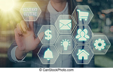 Handwriting text writing Company Culture. Concept meaning The environment and elements in which employees work.
