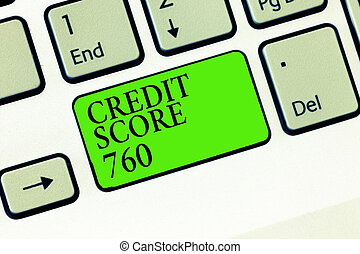 Handwriting text writing Credit Score 760. Concept meaning numerical expression based on level analysis of person