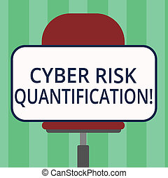 Handwriting text writing Cyber Risk Quantification. Concept meaning maintain an acceptable level of loss exposure Blank Rectangular Shape Sticker Sitting Horizontally on a Swivel Chair.