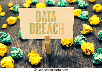 Handwriting text writing Data Breach. Concept meaning ...