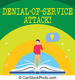 Handwriting text writing Denial Of Service Attack. Concept meaning Attack meant to shut down a machine or network Man Standing Behind Open Book, Hand on Head, Jagged Speech Bubble with Bulb.