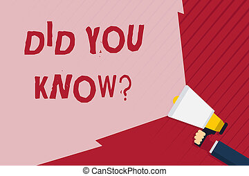 Handwriting text writing Did You Know Question. Concept meaning when you are asking someone if they know fact or event Hand Holding Megaphone with Blank Wide Beam for Extending the Volume Range.