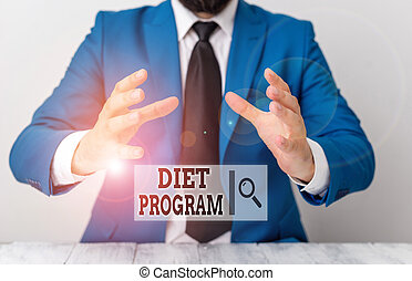 Handwriting text writing Diet Program. Concept meaning practice of eating food in a regulated and supervised fashion Man holds empty paper with copy space in front of him Space.