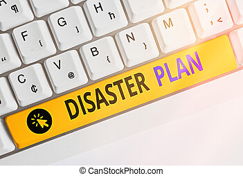 Handwriting text writing Disaster Plan. Concept meaning Respond to Emergency Preparedness Survival and First Aid Kit.