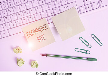 Handwriting text writing E Commerce Site. Conceptual photo activity of buying or selling of products on online services Square green note paper with pencil on the white background