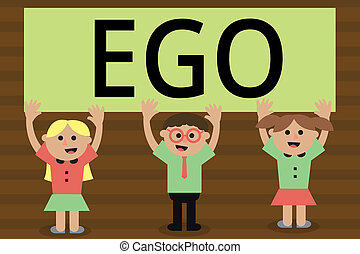 Handwriting text writing Ego. Concept meaning Sense of selfesteem selfworth of a person Conscious thinking matter