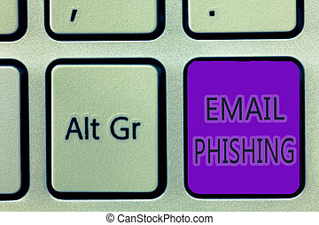Handwriting text writing Email Phishing. Concept meaning Emails that may link to websites that distribute malware