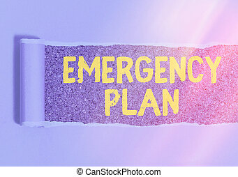 Handwriting text writing Emergency Plan. Concept meaning procedures for handling sudden or unexpected situations.