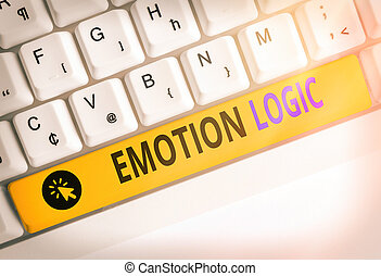 Handwriting text writing Emotion Logic. Concept meaning Heart or Brain Soul or Intelligence Confusion Equal Balance.