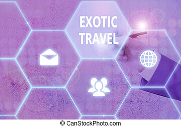 Handwriting text writing Exotic Travel. Concept meaning ...