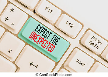 Handwriting text writing Expect The Unexpected. Concept meaning Anything can Happen Consider all Possible Events White pc keyboard with empty note paper above white background key copy space.