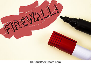 Handwriting text writing Firewall Motivational Call. Concept meaning Malware protection prevents internet frauds written on Painted background Markers next to it.