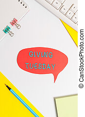 Handwriting text writing Giving Tuesday. Concept meaning ...