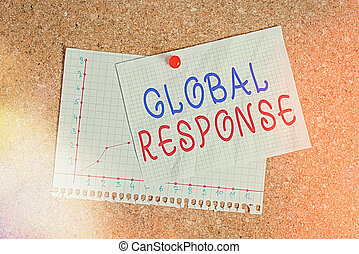 Handwriting text writing Global Response. Concept meaning indicates the behaviour of material away from impact point Corkboard color size paper pin thumbtack tack sheet billboard notice board.