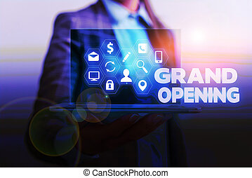 Handwriting text writing Grand Opening. Concept meaning Ribbon Cutting New Business First Official Day Launching.