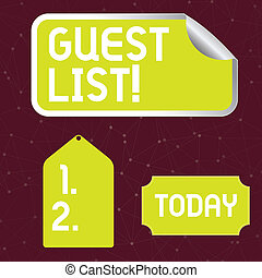 Handwriting text writing Guest List. Concept meaning showing...