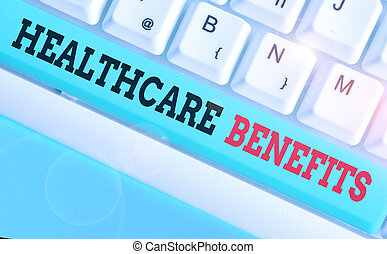 Handwriting text writing Healthcare Benefits. Concept meaning use the health services without risk of financial ruin.