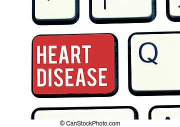 Handwriting text writing Heart Disease. Concept meaning Heart disorder Conditions that involve blocked blood vessels