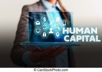 Handwriting text writing Huanalysis Capital. Concept meaning Intangible Collective Resources Competence Capital Education.