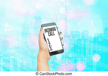 Handwriting text writing Incoming Call. Concept meaning Inbound Received Caller ID Telephone Voicemail Vidcall.