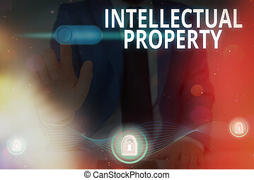 Handwriting text writing Intellectual Property. Concept meaning work or invention that is the result of creativity.