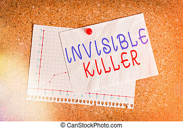 Handwriting text writing Invisible Killer. Concept meaning presence into the air of a substance which are harmful Corkboard color size paper pin thumbtack tack sheet billboard notice board.