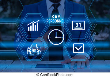 Handwriting text writing Key Personnel. Conceptual photo Program Directors Principal Investigator Project Executives Male human wear formal work suit presenting presentation using smart device