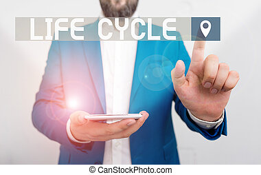 Handwriting text writing Life Cycle. Concept meaning the series of changes in the life of an organism and animals Businessman in the blue suite with lap top pointing with finger.