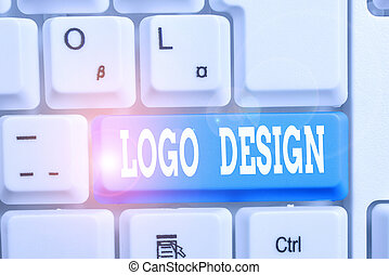 Handwriting text writing Logo Design. Concept meaning a graphic representation or symbol of company name or trademark White pc keyboard with empty note paper above white background key copy space.