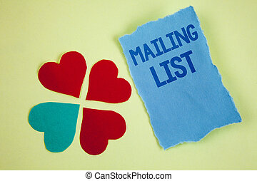 Handwriting text writing Mailing List. Concept meaning Names and addresses of people you are going to send something