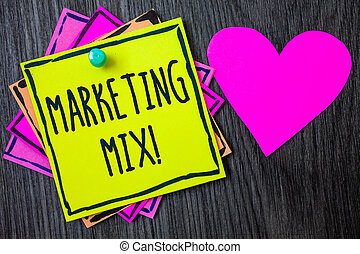 Handwriting text writing Marketing Mix Motivational Call. Concept meaning Actions to promote brand product in market Border sticky remember cards love heart pinned dark woody background.